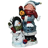 Homebrite Christmas Decorative Polyresin Child Playing with Snowman Led Light Figurine
