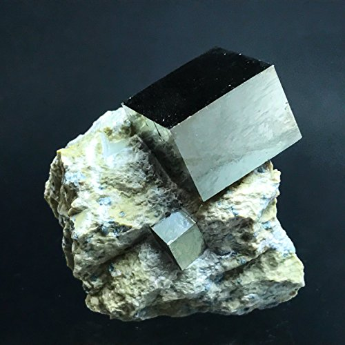 Pyrite Cube on Basalt From Navajun, Spain - PB13 by Astro Gallery Of Gems