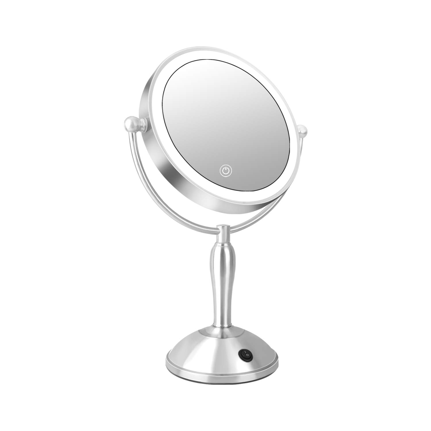 Dorafair Lighted Makeup Mirror 10x Magnification, 3 Color Adjustable Lights Double-Sided Mirror 360 Rotating Professional Vanity Mirror Makeup Mirrors, AC Adapter or 4AA Operated Brushed Nickel