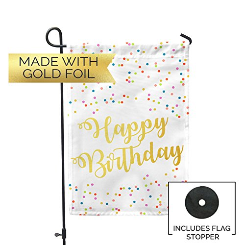 Second East Happy Birthday Gold Foil Garden Flag Outdoor Pat