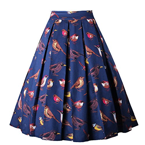 Girstunm Women's Pleated Vintage Skirt Floral Print A-line Midi Skirts with Pockets Singing-Birds L