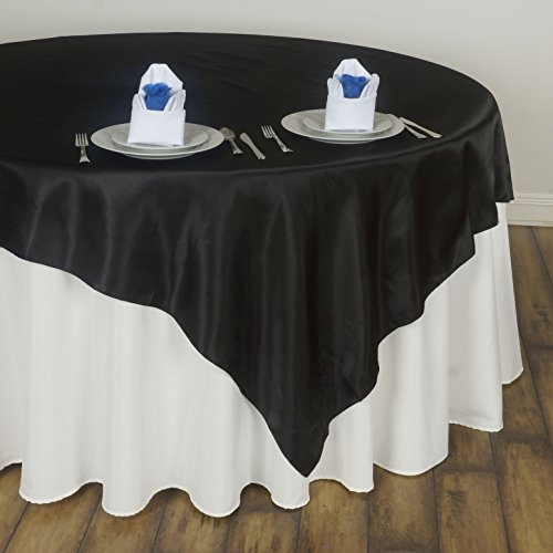 BalsaCircle 5 pcs 72×72 inch Black Square Tablecloth Satin Table Overlays Linens for Wedding Table Cloth Party Reception Events Kitchen Dining