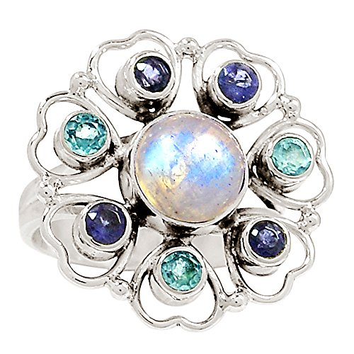 - Xtremegems Moonstone, Iolite & Blue Topaz 925 Sterling Silver Ring Jewelry Size 6.5 16115R