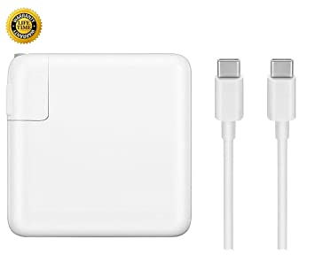 GSNOW 87W USB-C Power Adapter Charger - Compatible with MacBook Pro 15 Inch Laptop - with USB-C to USB-C Charge Cable (White)