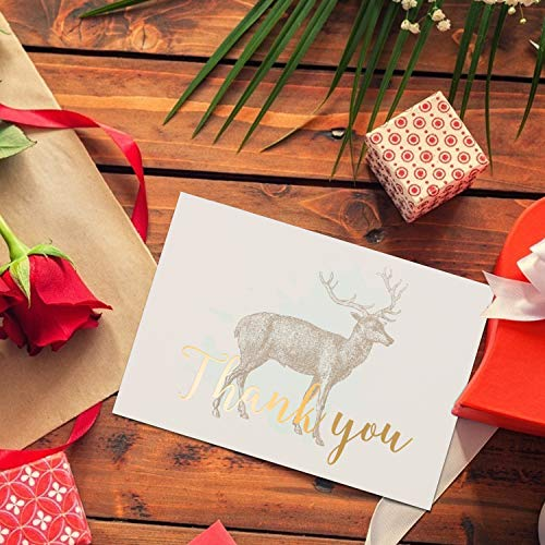 MEIC 60 Gold Foil Thank You Cards-Rustic Deer Baby Shower Thank You Postcards-Modern Cute handmade design Thanks Note Card For Girl or Boy Stationery Appreciation Set-Include 60 Envelope-3.6'' x 5.2'' (Font Christmas Card Ii)