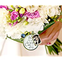 Bridal Bouquet Photo Charm Dad You Walk Beside Me Every Day White Wedding Pendant Blue Bead Father Memorial Remembrance Photo Jewelry