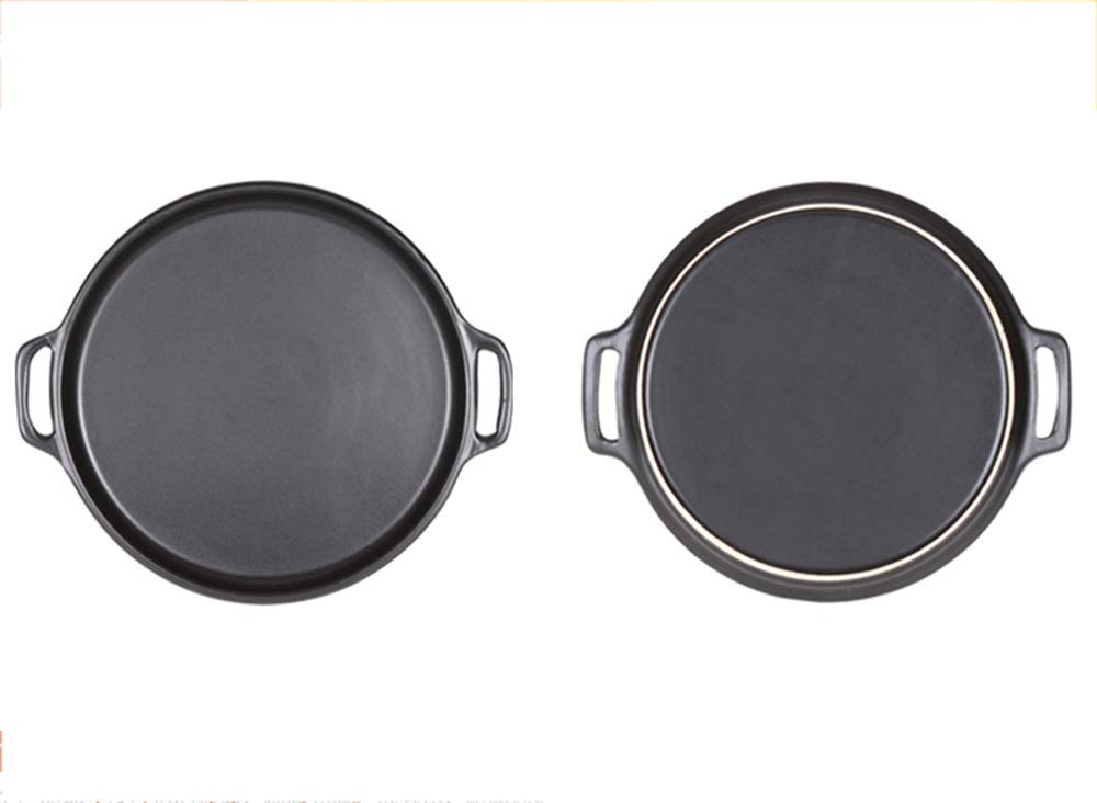 Casserole, pan made of ceramics   steak pizza baking tray   suitable for induction   diameter 29 2.5cm round, uncoated pot heat resistant 800 ° C,322.5CM by DOKJ (Image #7)