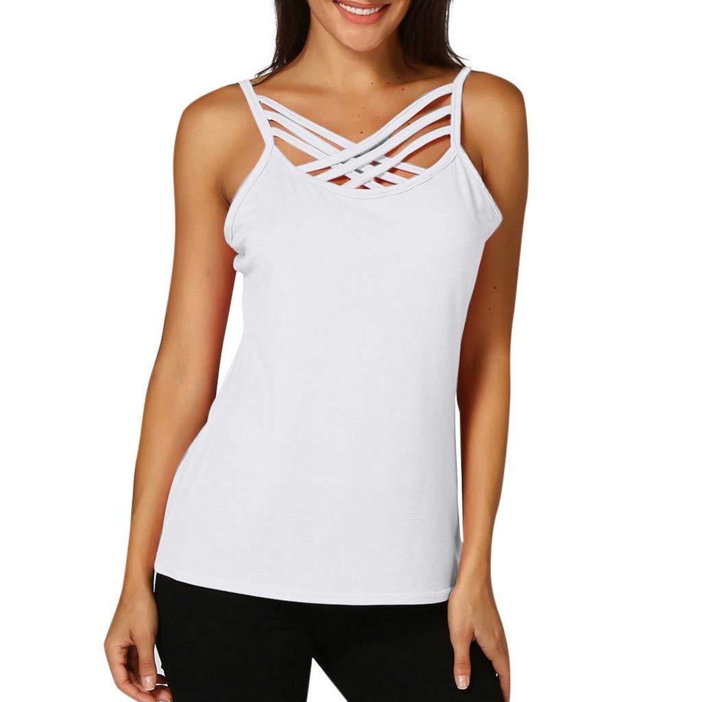 Keliay Cute Womens Tops Summer,Women Hollow Out Sleeveless Crop Top Vest Tank Shirt Blouse Cami Tops White