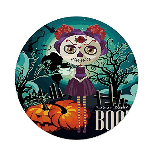 iPrint Polyester Round Tablecloth,Halloween,Cartoon Girl Sugar Skull Makeup Retro Seasonal Artwork Swirled Trees Boo Decorative,Multicolor,Dining Room Kitchen Picnic Table Cloth Cover Outdoor Indoo for $<!--$36.66-->