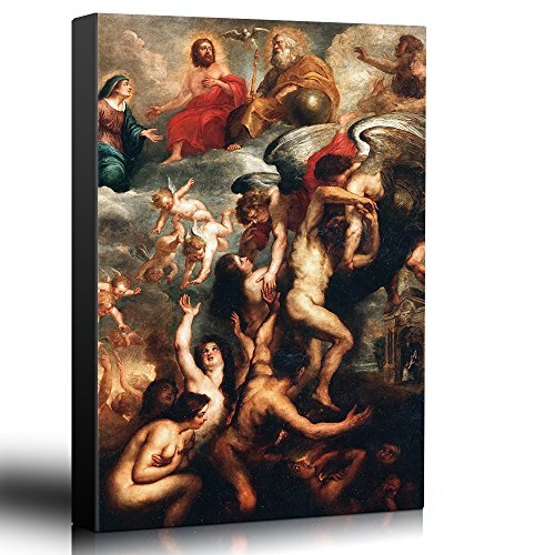 wall26 - Oil Painting of The Deliverance of Souls from Purgatory by Peter Paul Rubens - Baroque Style - Jesus, John, Angels - Canvas Art Home Decor - 24x36 inches]()