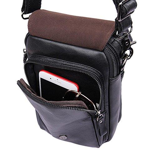 Genda 2Archer Bolso de Mano de la Taleguilla del iPad del Bolso del Hombro del Tracolla del Cuero Genuino de los Hombres (16cm*6cm * 22cm) (Negro) Negro