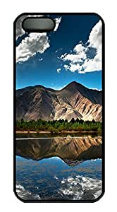 iPhone 5 5S Case Mountain And Lake 01 PC Custom iPhone 5 5S Case Cover Black