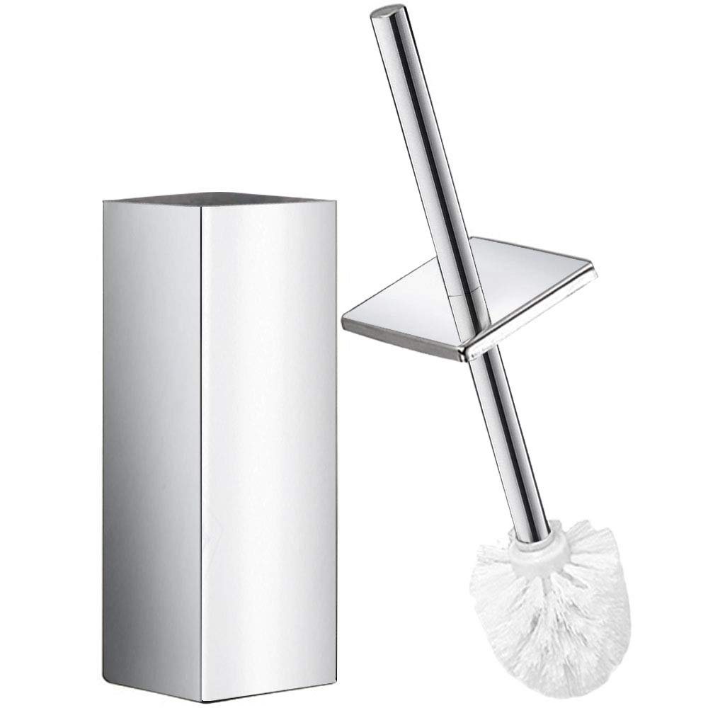 DOWRY Polished Stainless Steel Toilet Brush and Holder Square, Chrome Finished,Pack of 1, SS202-2