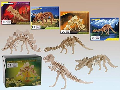 Lot de 4 Puzzles en Bois Squelette Dinosaure - Loisir Jeu 3D - 506