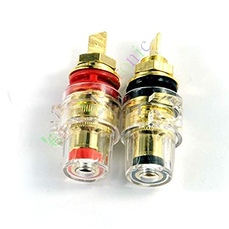 2pcs Gold Plated Copper Speaker cable amp Binding post Terminal Plug tube audio