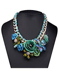 Vintage Green Statement Pendant Necklace Flower Bubble Bib Chunky Golden Chain Pendant Cheap Jewelry Gifts