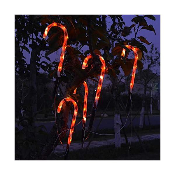 Amusingtao - Set di 2 luci a forma di bastoncino di Natale, a energia solare, luci da giardino, luci a LED, luci da terrazza, patio, percorso, giardino, decorazione per vacanze, feste di Natale 7 spesavip
