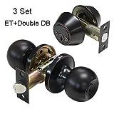Gobrico Keyed-Alike Round Ball Door Knob Entry Lock and Double Cylinder Deadbolt Keyed on Both Sides Oil Rubbed Bronze Finished 3Set