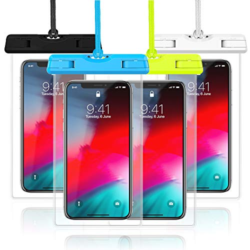Waterproof Case, Veckle 4 Pack Waterproof Phone Pouch Universal Clear Water Proof Dry Beach Bag for OnePlus 7, iPhone X 8 7 6S 6 Plus, Samsung Galaxy S9 S8 S7 -