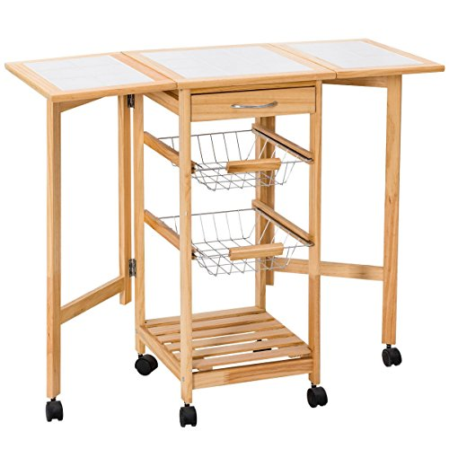MD Group Kitchen Trolley Cart Rolling 3-Tier Serving Shelf Unit Food Storage Foldable Utility Furniture by MD Group