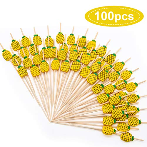 MMTX Cocktail Picks 100pcs 4.72inch Handmade Fruits Bamboo Toothpicks for Party Drink Fruit Dessert Food Appetizers Decoration-Pineapple