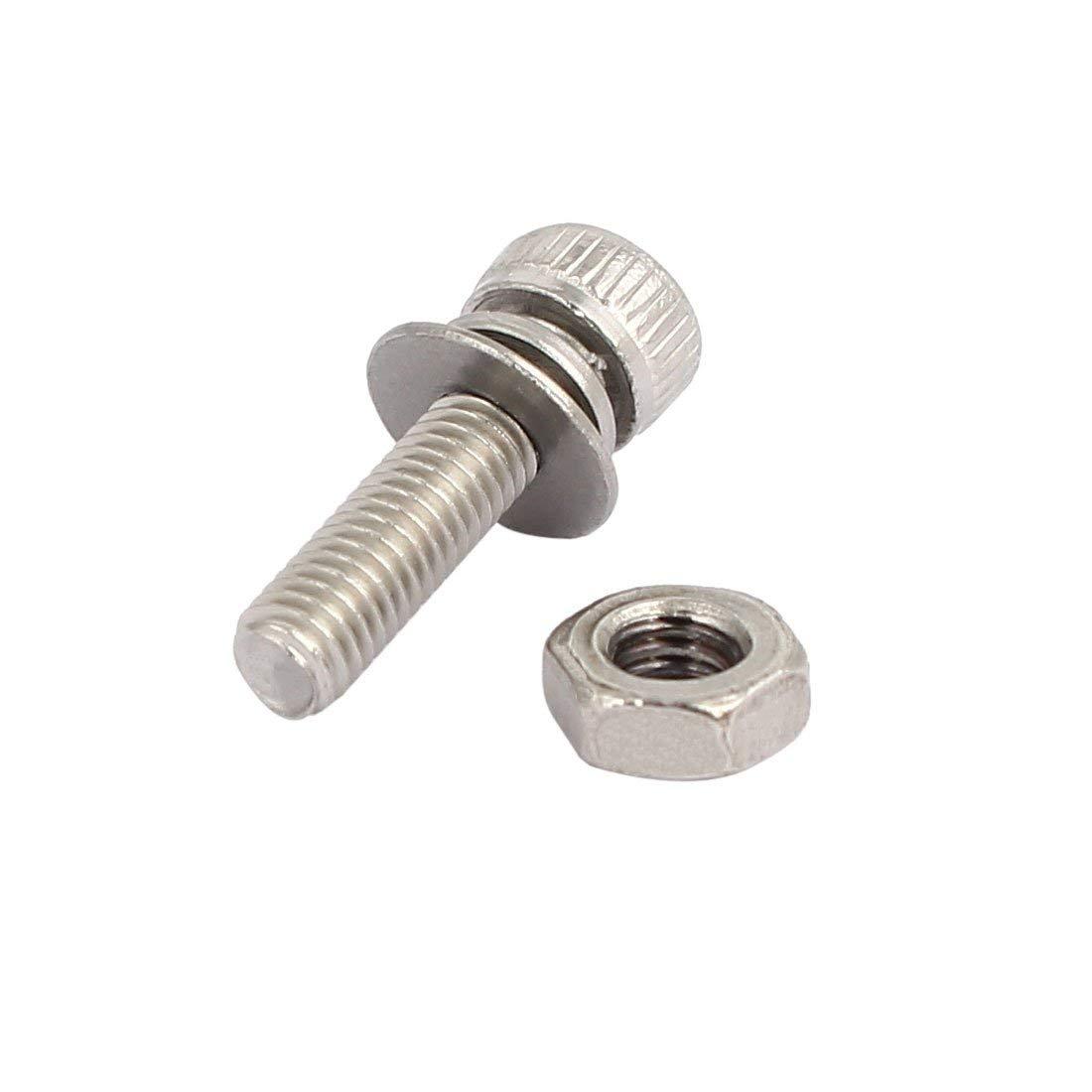 M3x12mm acier inox 304 vis t/ête Hex vis rondelle 25 sets