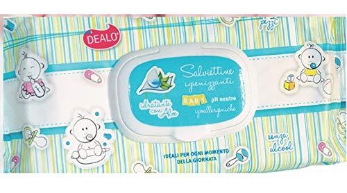 DEALO SALVIETTINE IGIENIZANTI BABY (PH NEUTRO) Hidratante con Aloe – 3 paquetes x 72 unidades (cada uno)