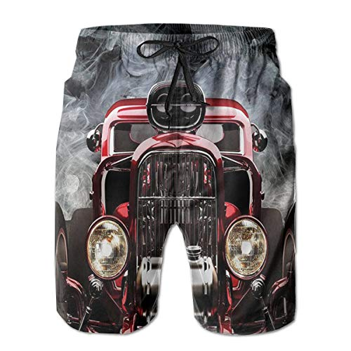 - Oswz American Hot Rod Roadster with Smoke Background Men's Beach Swimming Trunks Boxer Brief Swimsuit Swim Underwear Boardshorts with Pocket