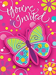 Creative Converting Butterfly Sparkle Party Invitations, 8-Count