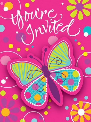 8-Count Party Invitations, Butterfly Sparkle -