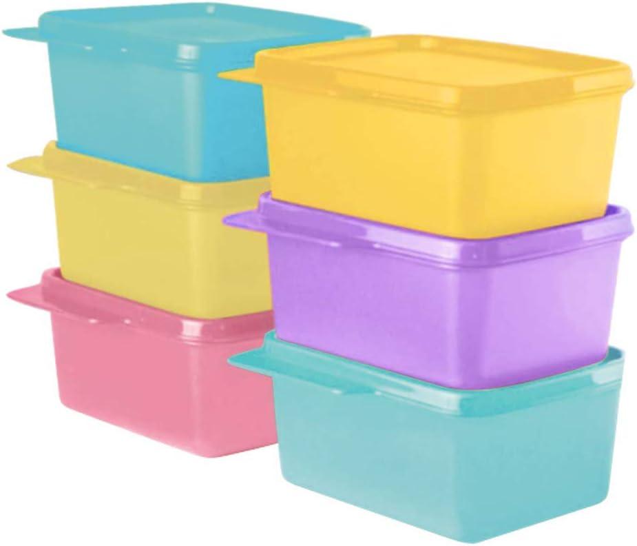Tupperware 11155971 Plastic Refrigerator Container - 500ml, 6 Pcs, Green, Purple, Pink, Blue, Yellow