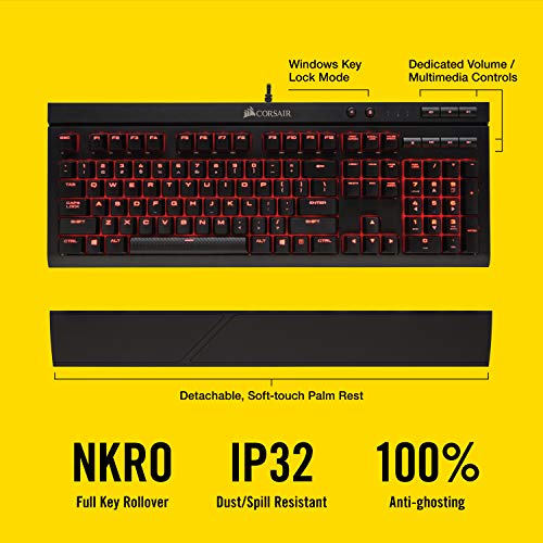 Corsair K68 Mechanical Gaming Keyboard, Backlit Red LED, Dust and Spill Resistant - Linear & Quiet - Cherry MX Red