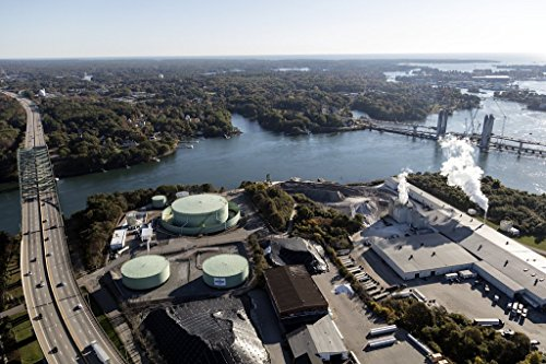 Photograph| Aerial view of Portsmouth, New Hampshire, focusing on the Irving Oil Terminals, right 3 Fine Art Photo Reproduction 44in x - Portsmouth Oil