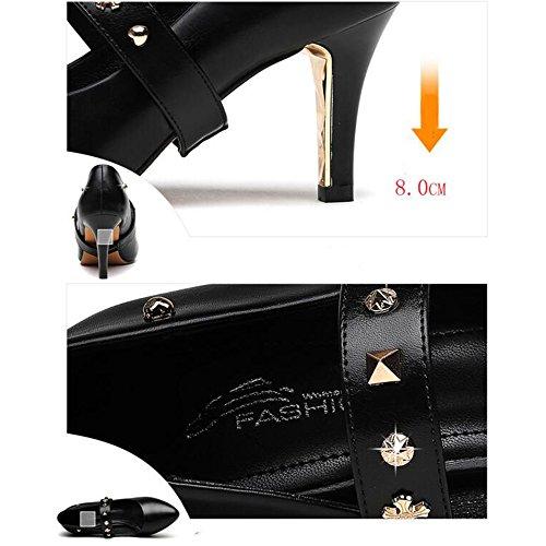 FUFU Sandalen Spring spitz High Heels Fashion Casual Large Size Damenschuhe Schwarz
