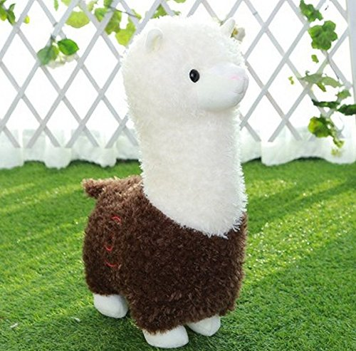 Stuffed Short Plush Shaped Mud horse prairie Neck Large Pillow Cushions Nap Doll Home Essential (21 inch, Brown)