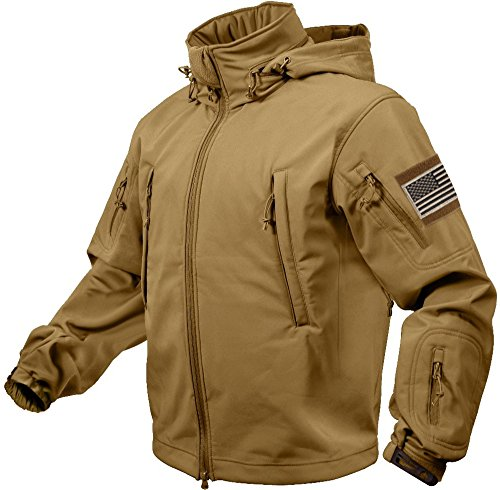 Rothco Special Ops Tactical Soft Shell Jacket with Patches Bundle (X-Large, Coyote Brown with Khaki Patches) by Rothco