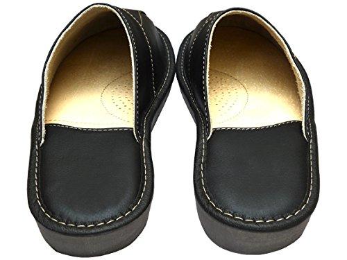 BeComfy Herren Hausschuhe Leder Pantoffeln Geschenkkarton (Wahlweise) Modell FM81 Schwarz