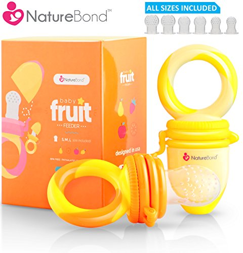 NatureBond Baby Food Feeder / Fruit Feeder Pacifier (2 PCs) - Infant Teething Toy Teether in Appetite Stimulating Colors | Includes 6 PCs All Sizes Silicone Sacs (Sunshine Orange & Lemonade Yellow) from NatureBond