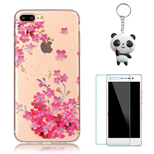iPhone 7 Plus Coque,Fleurs roses Premium Gel TPU Souple Silicone Transparent Clair Bumper Protection Housse Arrière Étui Pour Apple iPhone 7 Plus + Deux cadeau