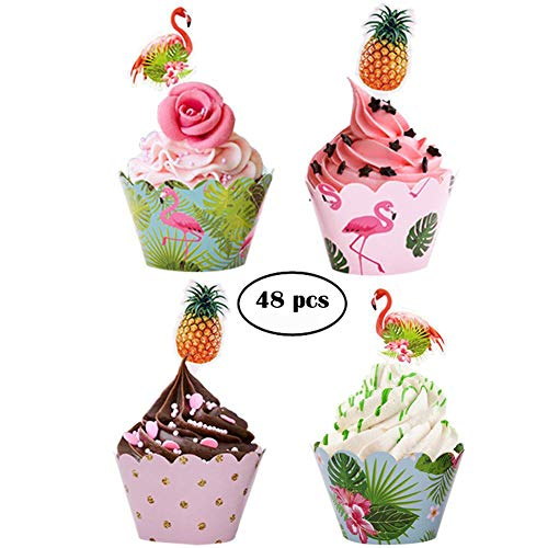 48pcs Flamingo Cupcake Toppers + 48pcs Double Sided Paper Cupcake Wrappers for Kids Party Cupcake Decorations -