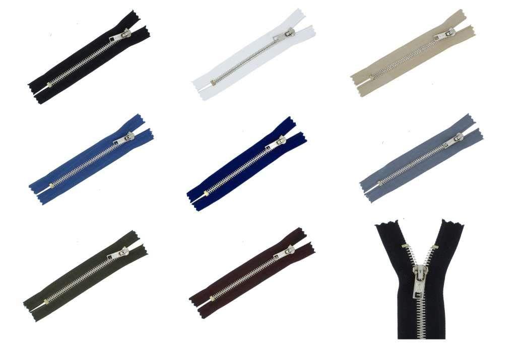 zipworld Jeans Reißverschlüsse Silber Metall Reißverschluss 5mm Nicht teilbar, JS (schwarz 322, 10cm)