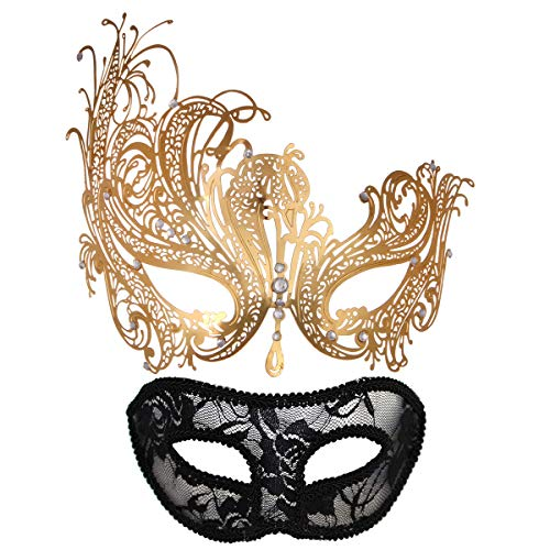 Pretty Masquerade Masks (MYMENU Masquerade Mask for Couples Women Metal Rhinestone Venetian Pretty Party Evening Prom Ball Mask Luxury Metal Mask with Free Lace Mask 2 Pack (Queen)