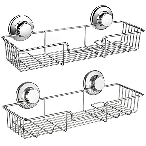 Lavatory Set Polish - SANNO Shower Caddy,Strong Suction Cup Bathroom Shower Caddies,Bath Shelf Storage Combo Organizer Basket, Kitchen & Bathroom Accessories for Shampoo Conditioner - Rustproof Stainless Steel(Set of 2)