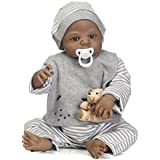 Lilith 23 Inch 57cm Black Indian African Soft Silicone Reborn Doll Baby BOY Vinyl Realistic Looking Lifelike Baby Dolls with Magnet Pacifier Anatomically Correct