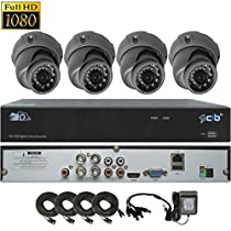 CIB True Full HD 4CH 1920TVL 1080P Recording and Display DVR system with 1TB HDD and 4 2Megapixel Vandal Dome Cameras Network Remote Viewing -- H80P04K1T03G-4KIT