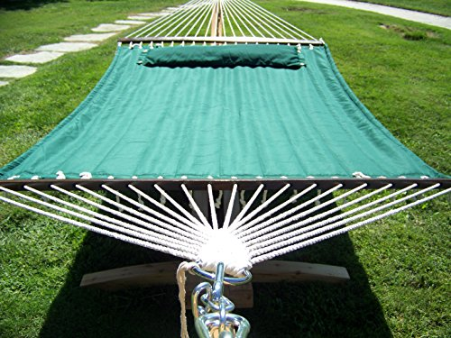 Petra Leisure 14 Ft. Natural Wooden Arc Hammock Stand + Deluxe Quilted Elegant Hunter Green, Double Padded Hammock Bed w/Pillow. 2 Person Bed. 450 LB Capacity