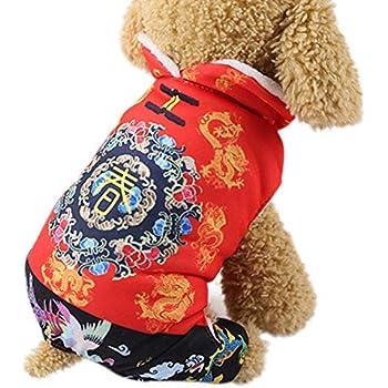 Pet Dog Winter Coat Warm Red New Year Clothing Set Novelty Funny Festival New Year Costume Jackets For Puppy Dog Coats & Jackets
