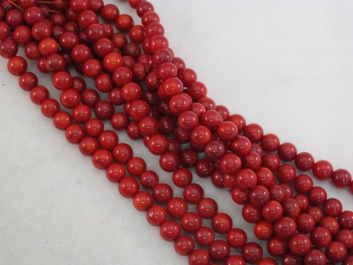 Coral Beads Bamboo Coral Dyed Red Color 6mm Round 70pcs 16'' Per ()