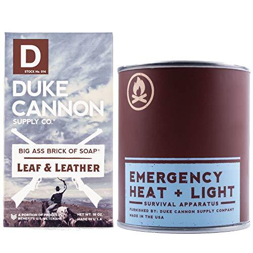 Duke Cannon Great American Frontier Men's Bundle Set - Leaf & Leather: Emergency Heat + Light Man Candle, 13.5oz + Big Brick of Soap, 10oz