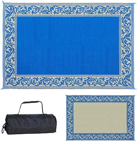 Stylish Camping 6-Feet x 9-Feet Reversible RV Outdoor Mat, Blue Beige Classical Patio Mat RD3